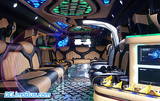DC Hummer Limo Gullwing Doors Interior Front View